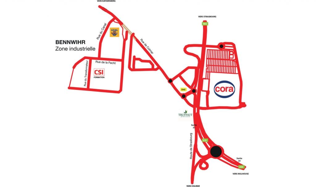 Plan d'accès Formation Colmar-Bennwihr / Haut-Rhin 68
