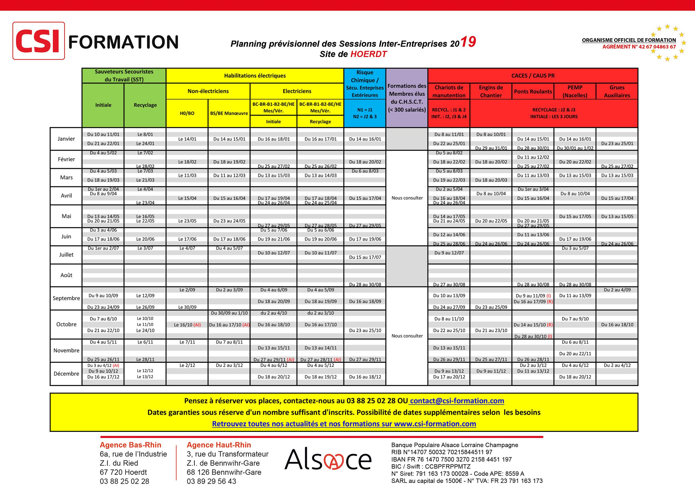 Planning prévisionnel des Sessions Inter-Entreprises 2019